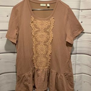 LOGO XL clay rose lace short sleeve knit shirt 071